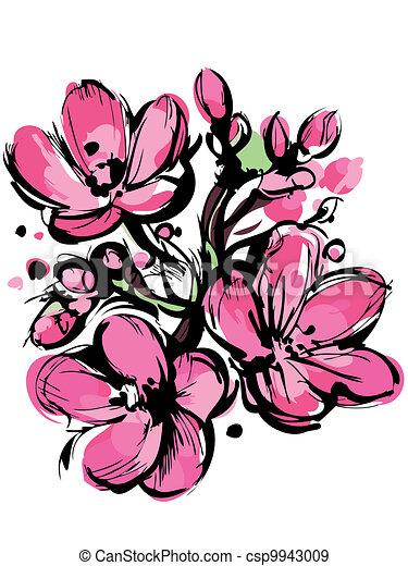 rose bourgeons croquis printemps trois couleurs. Black Bedroom Furniture Sets. Home Design Ideas