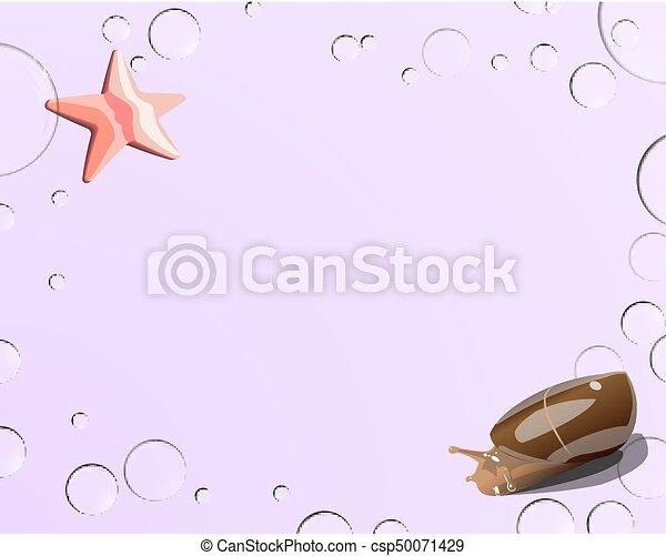 rose, bulles, escargot, fond, etoile mer - csp50071429
