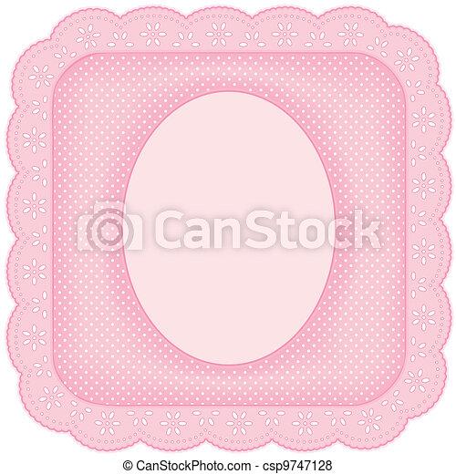 rose, cadre graphique, dentelle, oeillet - csp9747128