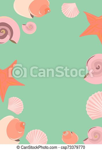 rose, carte, objets, starfish., arrière-plan., bleu, été, seashells - csp73379770
