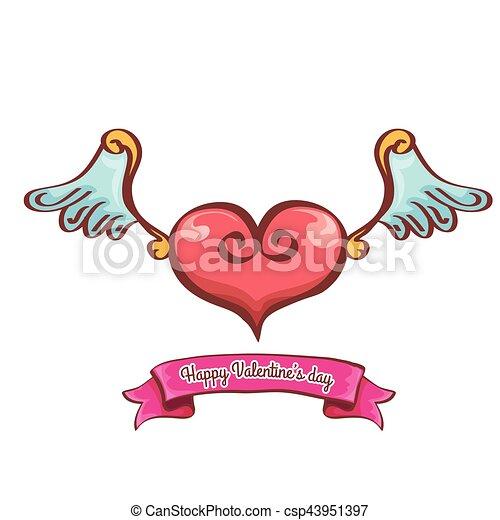 Rose Coeur Ange Saint Valentin Vecteur Ailes Rose Tatouage
