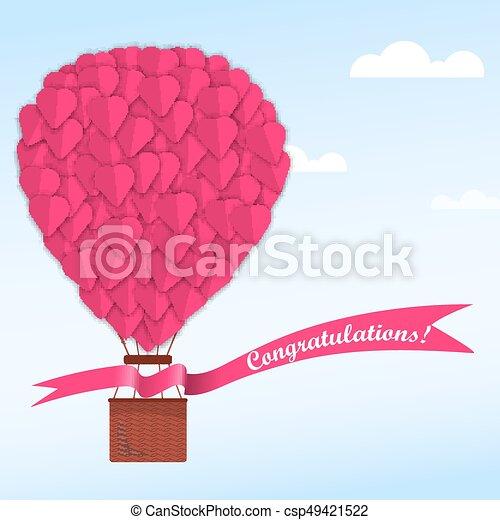 Rose Coeur Nuages Balloon Ciel Bleu Rose Ballon Bleu Ciel