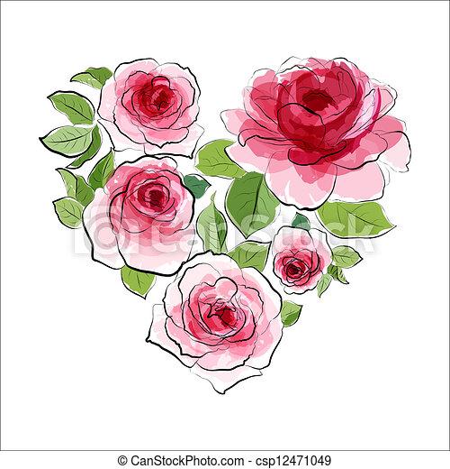 Rose Coeur Roses Aquarelle Rose Coeur Aquarelle Roses