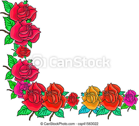 Rose Corner Border A Simple And Pretty Floral Page With