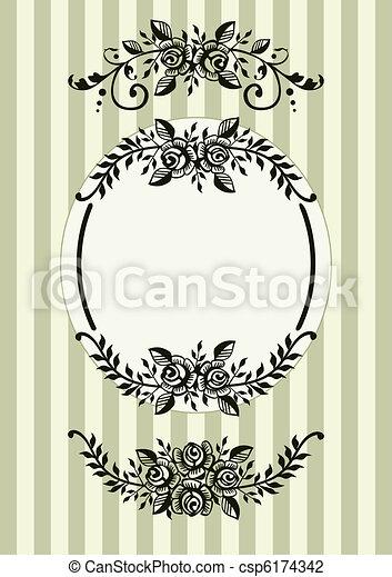 rose, cornice, retro - csp6174342