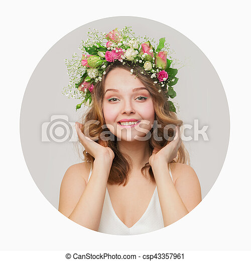 Rose Couronne Cheveux Roses Toucher Sourire Blanc Girl