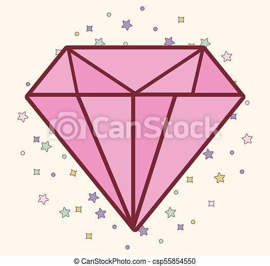 rose, diamant, icône - csp55854550