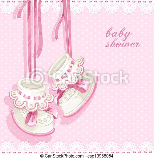 rose, douche, carte, butins, bébé - csp13958084