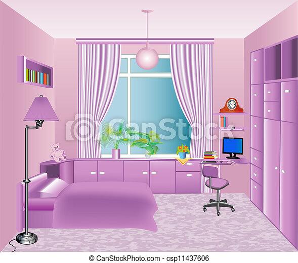 rose, enfants, intérieur, salle, illustration - csp11437606