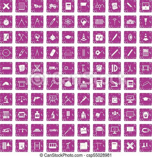 rose, ensemble, grunge, icônes, compas, 100 - csp55028981