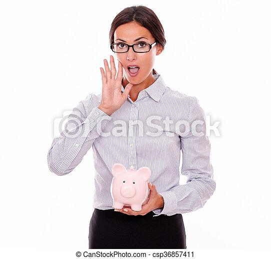 rose, femme affaires, appeler, porcin, tenue, banque - csp36857411