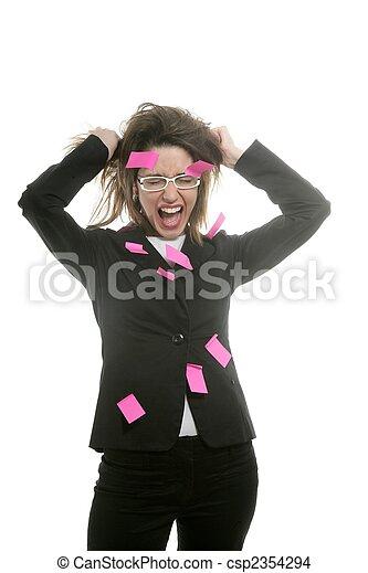 rose, femme affaires, multi tâche, notes - csp2354294