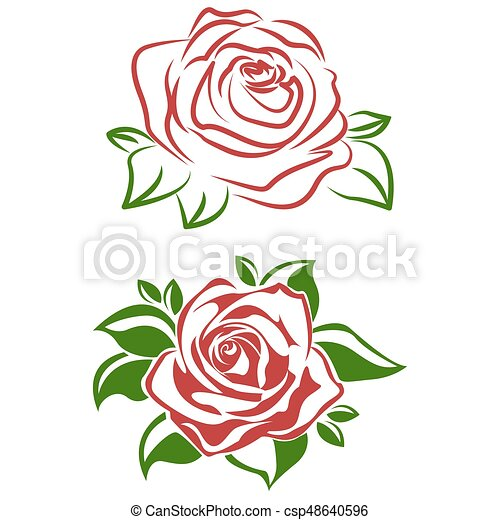 Rose Feuilles Fleur Rouge Vert