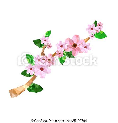 Rose Fleur Cerise Illustration Branche Origami Rose Branche