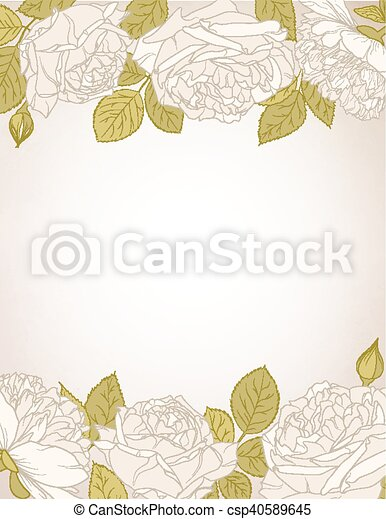 rose flowers card template rose flowers border design element