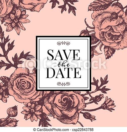 Rose Flowers Hochzeitskarten Weinlese Weinlese Skizze Rose