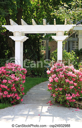 rose, flowers., tonnelle, jardin - csp24932988