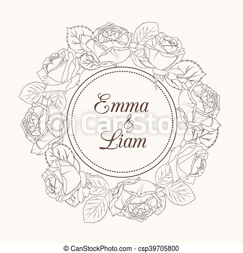 Rose flowers wreath wedding invitation card rose flowers rose flowers wreath wedding invitation card csp39705800 stopboris Image collections