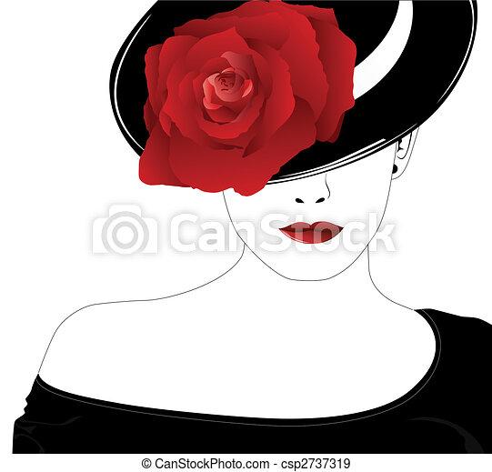 Eine Frau mit Hut mit einer Rose - csp2737319