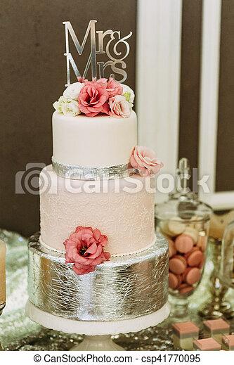 Rose Gâteau Fleurs Mariage Magnifique