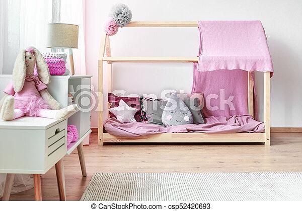rose, intérieur, fille, chambre à coucher