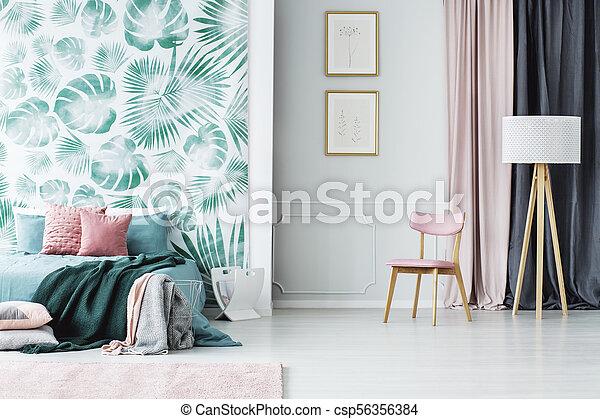 rose, intérieur, vert, chambre à coucher