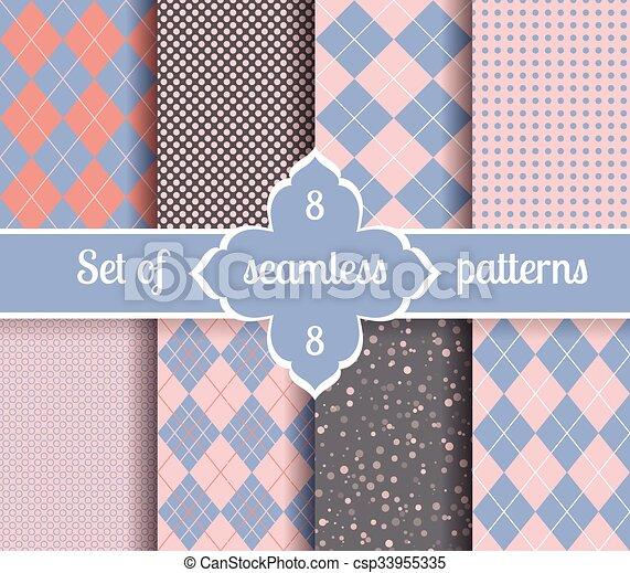 Setzen Sie Rosenquartz und Geometrische Patterns. 2016 Farben des Jahres - csp33955335