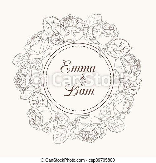 Rose Kranz Einladung Hochzeitsblumen Karte Brauner Sepia