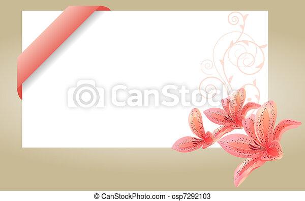 Rose Lis Visite Carte Vide Ruban Blanc
