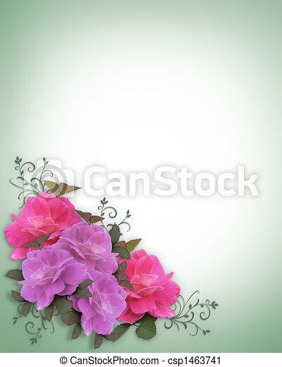 rose, matrimonio, angolo, invito - csp1463741