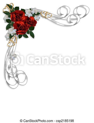 rose, matrimonio, bordo, rosso, invito - csp2185198