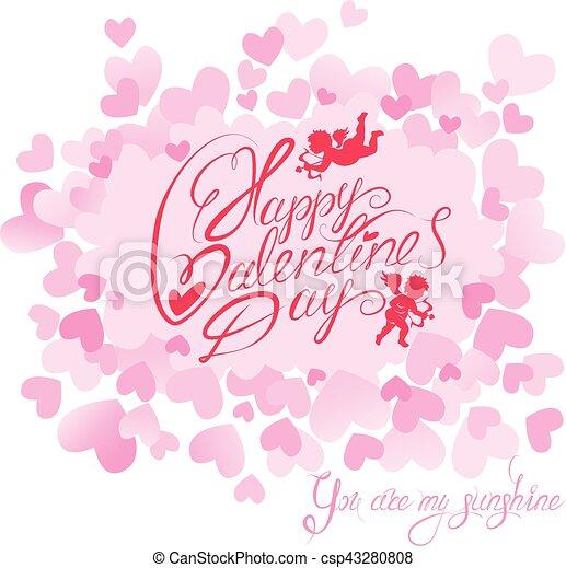 Rose Mignon Amour Mon Heureux Texte Saint Valentin Soleil Calligraphic Arrière Plan écrit Main Cœurs Vous Vacances Anges Carte