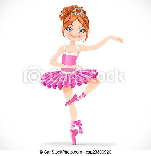 rose, mignon, brunette, ballerine, danse, isolé, fond, girl, robe, blanc - csp23800920