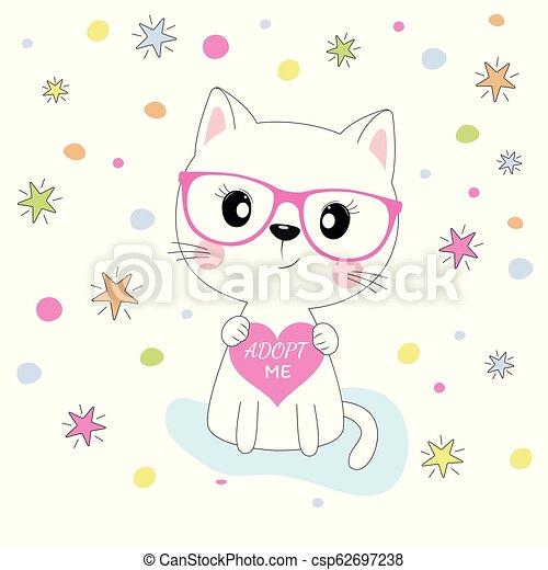 rose, mignon, cercles, coloré, isolé, chat, arrière-plan., étoiles, girl, lunettes - csp62697238
