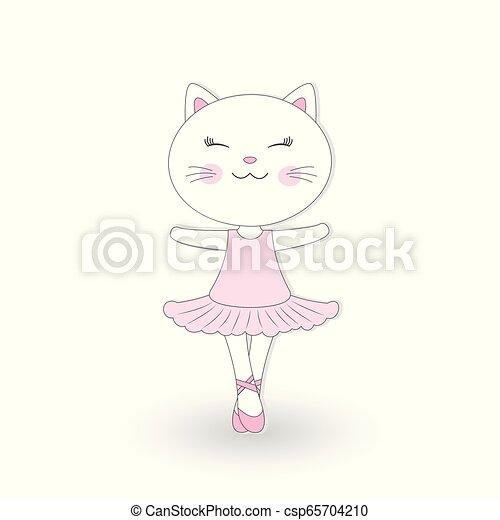 rose, mignon, danse, chat, arrière-plan., robe blanche - csp65704210