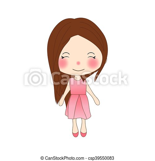rose, mignon, dress., rose, isolé, arrière-plan., girl, blanc - csp39550083