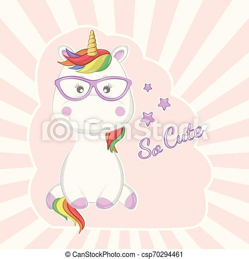 rose, mignon, lunettes soleil, magique, isolé, arrière-plan., licorne, dessin animé - csp70294461