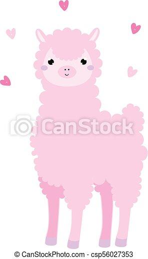 Rose Mignon Style Lama Kawaii Alpaca Llama Hearts Dessin