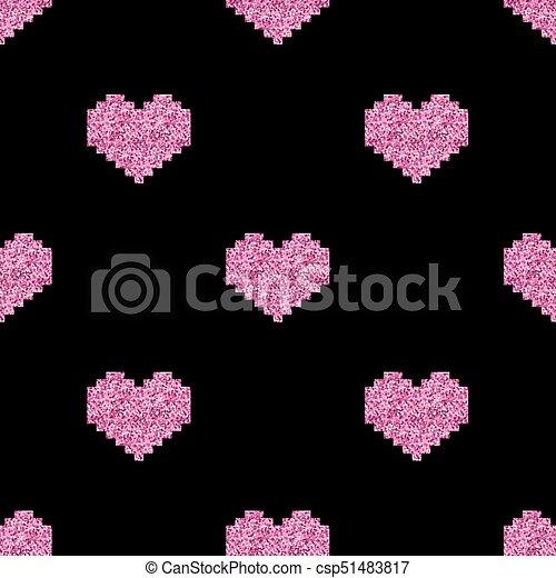 Rose Modèle Coeur Seamless Arrière Plan Noir Pixel