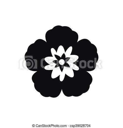 Rose of sharon, korean flower icon, simple style. Rose of sharon, korean national flower icon in ...