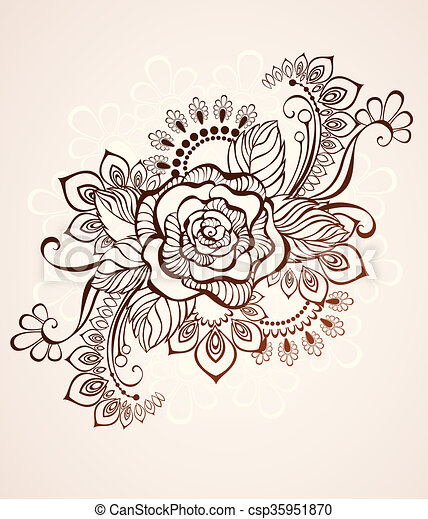 Rose Painted With Henna Rose Painted In The Style Of Mehendi On A