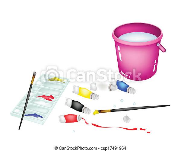 Rose Palette Couleur Seau Peinture Pots