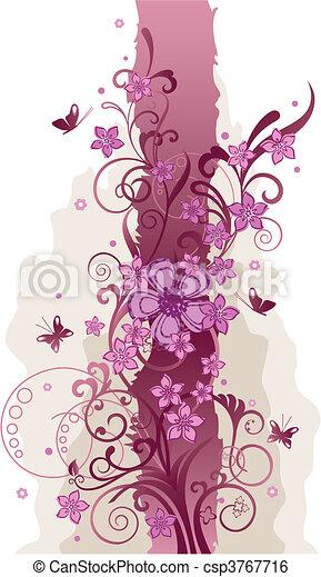rose, papillons, fleurs, frontière - csp3767716