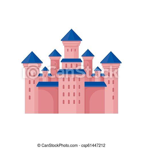 rose, plat, vecteur, fée, tours, bleu, royal, élément, grand, élevé, livre, roof., château, conte, enfants, bâtiment. - csp61447212