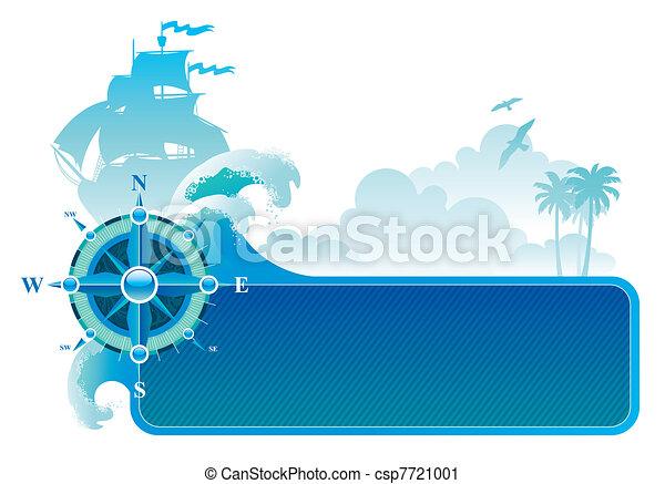 &, rose, reise, abenteuer, vektor, kompaß, rahmen - csp7721001