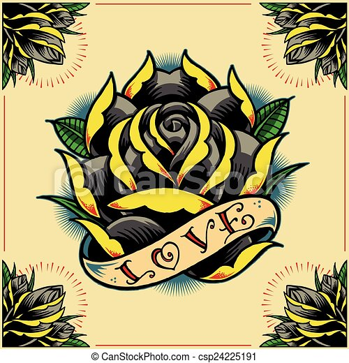 Rose Ribbon And Roses Frame In Old School Tattoo Style Set 09 You