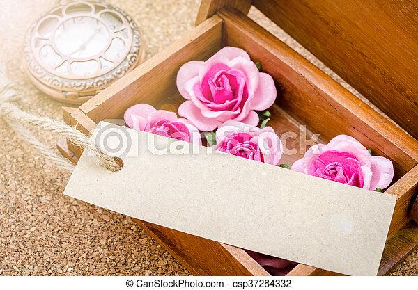 rose, rose., noir, carte - csp37284332