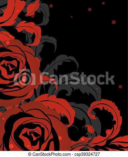 Rose Rouge Noir Rose Feuilles Rouge Noir Fond