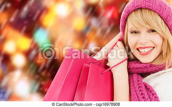 rose, sacs, achats femme, chapeau, écharpe - csp16978908