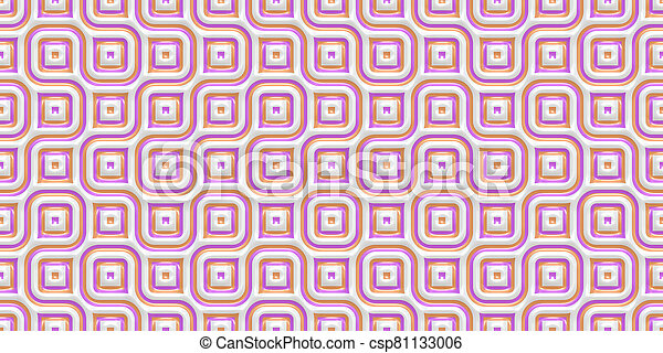 Rose Seamless Truchet Tilling Background. Geometric Mosaic Connections Texture. Tile Circles Labyrinth Backdrop. - csp81133006